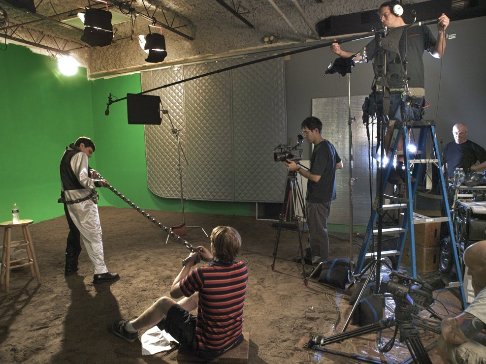 The green screen set of OC87's Lost in Space segment. Later, special effects artists superimposed an alien planet landscape.